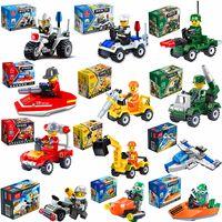mini bloque de series de juguetes al por mayor-City Series Police Car Fighter Kids Block Toys Mini bloques de construcción educativos juguetes compatibles con lego City Kids juguete de regalo
