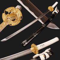 Wholesale handmade katana swords for sale - Group buy Real Sharp Samurai Sword Full Tang Training Japanese Katana High Carbon Steel Battle Ready Espada Handmade Crafts Swords Nice Present