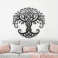 виниловые наклейки оптовых-Уникальный дизайн виниловые наклейки абстрактное дерево жизни обои искусство большое дерево фрески Главная Декор стен съемные наклейки