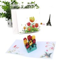 Wholesale pop up cards cake resale online - Festival Supplies D Pop UP Cards Birthday Card for Girl Kids Wife Husband Birthday Cake Greeting Card Postcards Gifts