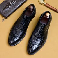 elbiseli siyah kahve toptan satış-Timsah Tahıl Siyah / Kahve Erkek Dantel-Up Elbise Deri Ayakkabı Yuvarlak Ayak İş Resmi Oxfords Ayakkabı