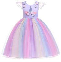 ropa de color arco iris chicas al por mayor-1 unids 2019 Flower Girls Unicorn Appliqued Princess Dress Rainbow Ruffle Vestidos Niños Pascua Cosplay disfraces Ropa niños boutique