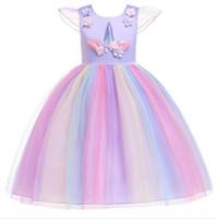 ingrosso fiori per la pasqua-1pcs 2019 Flower Girls Unicorn Appliqued Princess Dress Arcobaleno Ruffle Abiti Bambini Pasqua costumi Cosplay Abbigliamento Bambini boutique