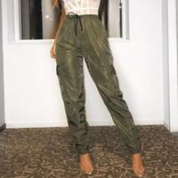 pantalon cargo vert armée femme achat en gros de-Taille haute cordon femmes cargo pantalons 2019 été poches latérales occasionnels pantalons longs streetwear armée vert pantalon complet