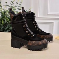 860ec0e4438 Laureate Platform Desert Boots Luxury Brand Designer Womens Ankle Boots  Classic Suede Calf Leather Monogram Canvas Top Quality Martin Boots