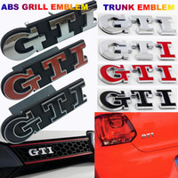 Wholesale volkswagen golf gti resale online - 3D Chrome Black Red ABS GTI Grille Rear Trunk Emblem Badge Auto Car Logo Emblema Embleem Sticker For Volkswagen VW Golf Polo GTI