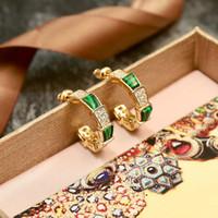 joyas de barrena al por mayor-Marca de moda Joyería de acero de titanio de las mujeres Pendiente de la serpiente Las mujeres del amor del amor pendientes de oro Verde Set taladro pendientes de cristal joyería al por mayor