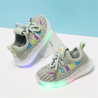Wholesale children toddler shoes lights resale online - DIMI New Baby Light Up Shoes Breathable Knitting Infant Girl Boy Toddler Shoes Non slip Transparent Soft Bottom Child Sneakers