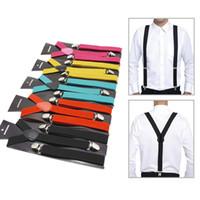 cinturones elásticos para niños al por mayor-Y-back para adultos liguero ajustable 2.5X100CM Soild del color de las mujeres con clip correas elásticas Suspender Moda Hombres niños del bebé de las correas de TTA-1084