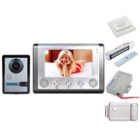 türkamera schloss großhandel-Home Security 7-Zoll-Video-Türsprechanlage Türklingel Intercom System Kit 1-Kamera 1-Monitor Nachtsicht + Elektronische Schlösser Set