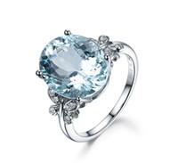 a3196a60cdbc anillo cristalino de piedras claras al por mayor-Encanto Azul Anillos de  Piedra Joyas Para