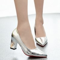 Wholesale d squared shoes online - Shoes Elegant Woman Pumps Pointed Toe High Heel Women New Patent Leather Ladies Square Heel Dress Basic Silver Pink Gold