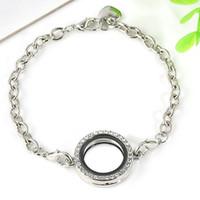 pulseras de medallón flotante al por mayor-Nueva bricolaje marco de fotos pulsera memoria viva medallón de plata flotante pulsera pulsera joyería