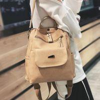 ingrosso zaino in pelle pu nero-Donne Zaino Femmina 2018 New Fashion Soft Multi-funzione Street Trend Black Lady zaino casuale Pu Shoulder Bag in pelle ragazze