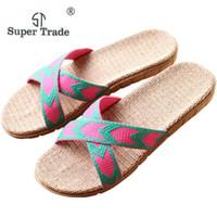 высокие шлепанцы для пляжа оптовых-High Quality Summer Couples Indoor Shoes Women Men Flax Home Slippers Comfort Beach Flip Flops Unisex Family Non-slip Slippers