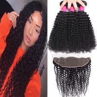 pacotes de cabelos retos kinky venda por atacado-9A Feixes de Cabelo Humano Brasileiro Com Fechamento 13X4 Orelha A Orelha Fechamento de Renda Frontal Onda Do Corpo Em Linha Reta Onda Solta Kinky Curly Profunda Onda Do Cabelo