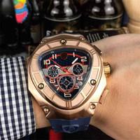 Wholesale quartz watch triangle black for sale - Group buy man watch luxury mens designer watches fashion black rubber watchband quartz movement Wristwatches orologio di lusso
