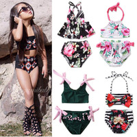 Wholesale girl swimsuits for sale - Group buy Baby Girls Floral Swimsuits Designs Toddler Flowers Sling Ruffles Bathing Suits Kids Beach Bikini Water Sports Swimwear