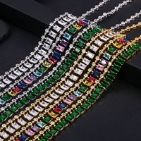 Wholesale geometric necklaces resale online - jANKELLY Popular AAA cubic zirconia Baguette pulling chain necklace for Women adjustable length trendy geometric necklaces T200113