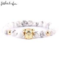 tierperlen für armbänder großhandel-WML Niedlichen Tier Bulldog armband Luxus charme frauen armbänder armreifen Weiß Stein Perlen Armband für männer Schmuck