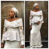 Wholesale peplum dress for sale - Group buy African Sheer Long Sleeves Lace Mermaid Evening Dresses Aso ebi Plus Size Applique Peplum Floor Length Prom Dresses