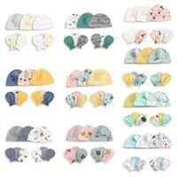 kız başlıklar fotoğrafları toptan satış-1 Set Bebek Boys Kız Şapka Eldiven Unisex Bebekler Yumuşak Pamuk Cap Anti-çizik Eldiven Yenidoğan Fotoğraf Aksesuarlar