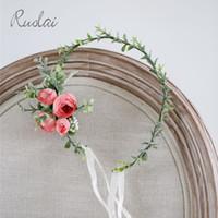 fada planta rosa venda por atacado-Coroa de flores Rose Headband Do Casamento Nupcial Cabelo Pente Planta Cabeça Desgaste para As Mulheres Boho Acessórios Do Casamento Fada Verde Folha