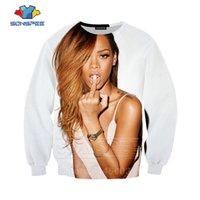 männer sexy langarm kapuzenpullis großhandel-SONSPEE Autumn Männer Frauen Harajuku Hoodies 3D-Druck Sexy Sängerin Rihanna Sweatshirt Langarm-Hip Hop Top O Neck Pullover C059-9
