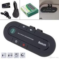 ingrosso altoparlante del telefono vivavoce dell'automobile del bluetooth-Telefono vivavoce Car Kit Bluetooth Speaker Bluetooth MP3 Speakerphone musica della clip di Sun del giocatore visiera con scatola al minuto