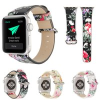 flor da faixa de relógio de couro venda por atacado-Flor de impressão cinta para apple watch band 42mm 38mm pulseira de couro para iwatch série 4 3 cinta cinto de mulheres retro