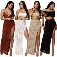 ingrosso pizzo rosso bikini-Donne Sexy Maglione Maxi Gonne Solid Lace Up Plaid Hollow Vita alta Side Split Skirt Beach Bikini Cover Up Bianco Nero Rosso Colore chiaro