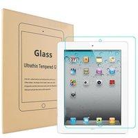 gelbes gehärtetes glas großhandel-iPAD-Luft-ausgeglichenes Glas-Schirm-Schutz für Ipad 2/3/4 Ipad Minifilm-Tablette-Schirm-Schutz 9H 0.4MM ausgeglichenes Glas mit gelbem Paket