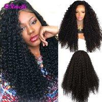 siyah afro sapık saç toptan satış-Sentetik Dantel Ön Peruk Uzun Kadınlar Için Afro Kinky Kıvırcık Peruk Siyah Isıya Dayanıklı Ile Bebek Saç 180% Yoğunluk Dantel Ön Peruk
