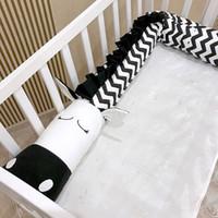 Wholesale 2m baby safety online - 2M M Baby Pillow Newborn Crib Bed Bumper Black White Zebra Children Bed Safety Crash Barrier Cushion Kids Room Decoration Toys