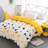 Wholesale triangle bedding online - New luxury white yellow duvet cover cartoon kids triangle cotton twin full queen king size quilt cover bedding