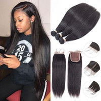 Wholesale human hair straight 32 inch resale online - Beau Diva Brazilian Virgin Hair Bundles With Closures Straight Human Hair Bundles With Closure No Shedding No Tangle