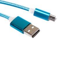 головные косы оптовых-1.5M 5FT Плетеный USB Micro Зарядное устройство прочный кабель типа C для телефонов Samsung HTC Sony LG с металлической головкой