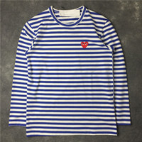 ingrosso camicia d'amore-T-shirt manica corta 2016 Tide Card Love Stripe Long T maschile Abbigliamento donna Fashion Lovers T-shirt Bottoming Blouses