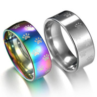 Wholesale silver lord rings wedding band resale online - Jewelry Vintage Silver Plated Cute Cat Dog elegant Cat Claw Rainbow Ring L Stainless Steel Rings for Men Lord Wedding Band Men Ring