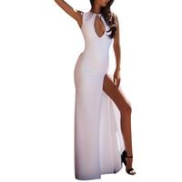 long camis blanc achat en gros de-Robes Femmes D'été 2019 Femmes Sexy Trou Blanc Robe Camis Retour Dentelle Creux Longue Fête Élégante Robe Robe Livraison Gratuite