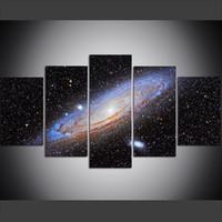 ingrosso bella tela di canapa-5 pezzi di grandi dimensioni Canvas Wall Art Pictures Creative Beautiful Galaxy - Space Universe Art Print Pittura a olio per soggiorno