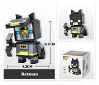 ingrosso testa di batman-Mini Supereroi Blocchi Modello Batman Captain America Thor Iron Brick Heads Action Figure Assemblage bambini Blocchi Giocattoli
