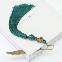 традиционные закладки оптовых- Novelty Long Bookmark Vintage Hair Clasp Shape Traditional Handmade Chinese Style Tassels Gifts Metal Weave Retro