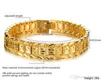 ingrosso braccialetti in oro massiccio-Braccialetti graziosi per donna Uomo Bracciale in oro giallo 18 carati con riempimento reale Bracciale a maglie in oro massiccio da 8,3 pollici Braccialetti con ciondoli in oro