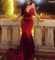 vestidos vermelhos de festa de noivado venda por atacado-Mulheres Elegantes sensuais Plus Size Sereia Vermelho Vestidos de Baile Longo 2019 Muçulmano Dubai Árabe Vestido de Noite de Noivado Vestido Formal Do Partido