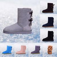 kürk ayakkabıları siyah kadınlar toptan satış-2019 UGG WGG klasik Avustralya kadınlar için kış çizmeler kestane siyah mavi pembe kahve tasarımcı kar kürk çizme bayan ayak bileği diz çizmeler