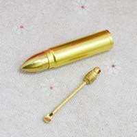 mermi mumu toptan satış-Yeni Altın Enfiye Şişe Kutusu Bullet Füze Şekli Mağaza Depolama Kaşık Metal Alaşım Taşınabilir Sigara Boru Aksesuarları Herb Balmumu Birden Kullanır