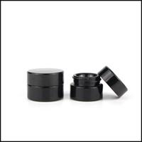 gafas cosméticas negras al por mayor-5ml Cosmetic Black Glass Jar con Classic Screw Top Frascos vacíos Concentrate Container Factory Supply Envío gratis