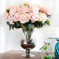 neujahrsblume großhandel-10 Köpfe Rose Künstliche Blume Französisch Rose Bouquet Silk Blume für Hochzeit Home New Year Dekoration Gefälschte Blume Herbst Dekoration