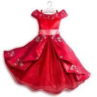 vestido da fantasia princesa venda por atacado-Garotinhas Fantasia Elena Of Avalor Traje Cosplay Fora Do Ombro Arco Sash Multi Camadas Princesa Elena Vestidos de Roupas J190713